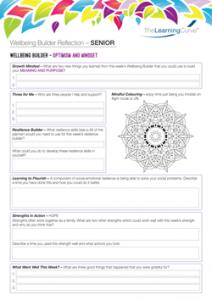 Wellbeing Builder Reflection SENIOR