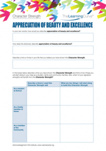 Character Strength Appreciation of Beauty and Excellence