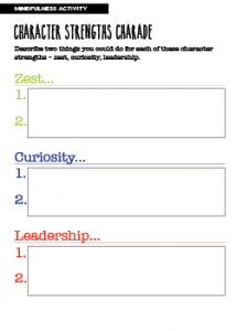 Mindfulness Activity Character Strengths Charade